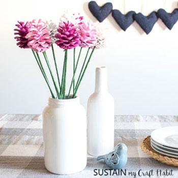 Toboz rózsák ( virágok tobozból ) - egyszerű tavaszi dekoráció