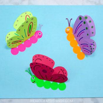 Egyszerű térbeli pillangó képeslap papírból - kreatív ötlet gyerekeknek