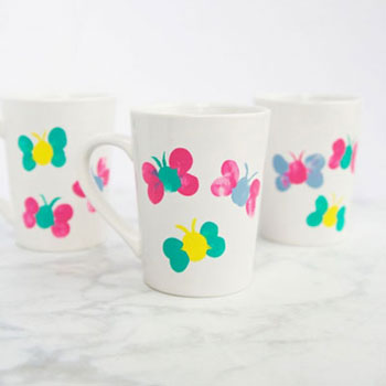 DIY Thumbprint butterfly mugs