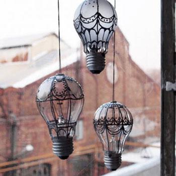 Villanykörte hőlégballon dekoráció - kreatív újrahasznosítás