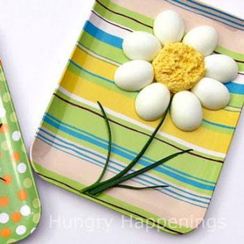 Főtt tojás virág snidling szárral - kreatív tavaszi előétel