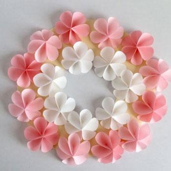 Egyszerű tavaszi papír virág koszorú - papír virágok körökből egyszerűen