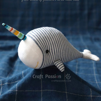 DIY Sock unicorn whale (narwhal) plushie - free sewing pattern