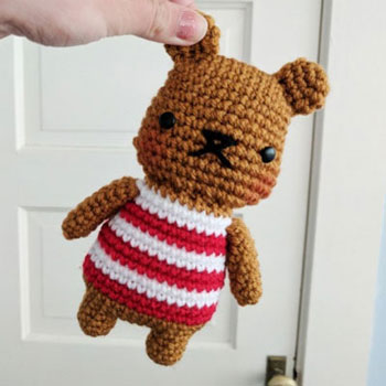 Chubby striped bear amigurumi toy - free crochet pattern