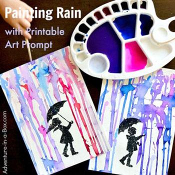 Esőben álló gyerekek - kreatív festés (folyatásos festés egyszerűen)