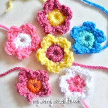 Egyszerű horgolt virág - ingyenes horgolásminta