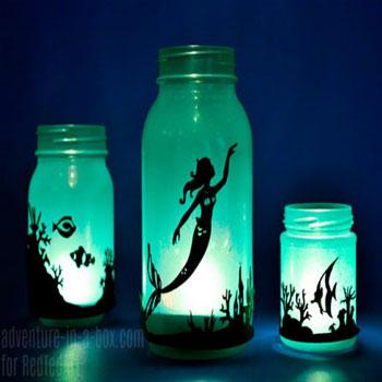 Sellő lámpás befőttesüvegből (ingyenes nyomtatható sablonnal)