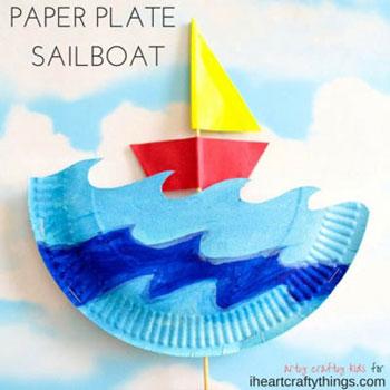 Mozgatható hajós játék papírtányérból - kreatív ötlet nyárra
