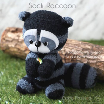 DIY Sock raccoon ( free sock toy sewing pattern and tutorial )