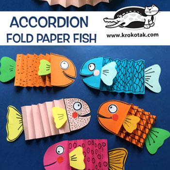 Egyszerű színes papír halacska harmonika hajtással - kreatív ötlet gyerekeknek