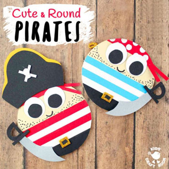 Adorable round pirates - fun summer craft for kids