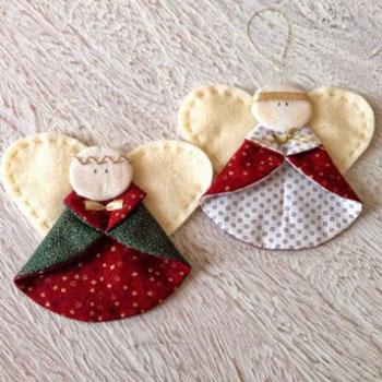 Christmas ornament angels from fabrics
