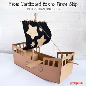 DIY Cardboard box pirate ship - fun summer craft for kids