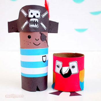 DIY Toilet paper tube pirate and parrot - fun paper craft for kids