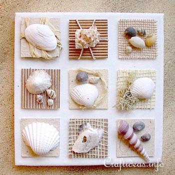 Falikép kagylókból egyszerűen - nyári dekoráció