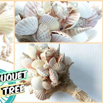 Kagyló csokor (kagylóból készült virágcsokor) - nyári dekoráció