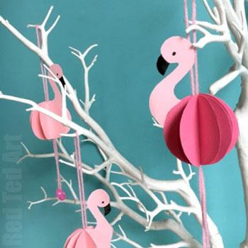 Egyszerű flamingó gömb dísz - nyári ötlet gyerekeknek