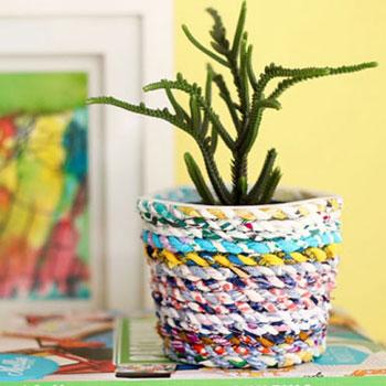 Anyagdarabokból ( ruhákból ) készült textil kaspó - ruha újrahasznosítás
