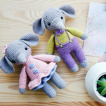 Mia és Tom - amigurumi elefántok (ingyenes angol horgolásminta)