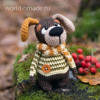 Amigurumi kutyus csíkos pulóverben (ingyenes horgolásminta)