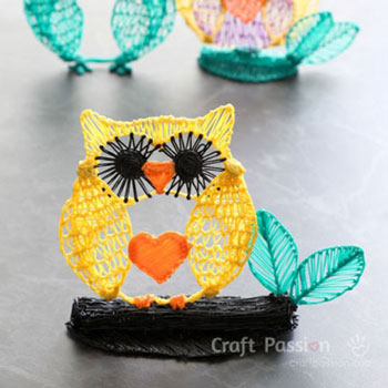DIY 3D Pen owl drawing - free pattern & drawing tutorial