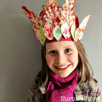 DIY Autumn leaf crown - easy and fun fall craft for kids