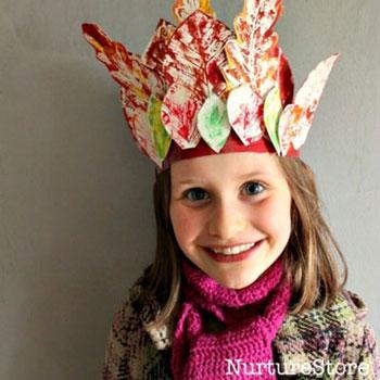 Őszi falevél korona festett falevelekkel - kreatív ötlet gyerekeknek