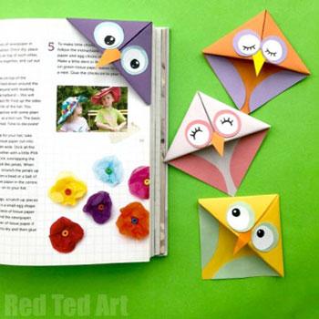 Origami bagoly sarok könyvjelző - egyszerű origami minta gyerekeknek