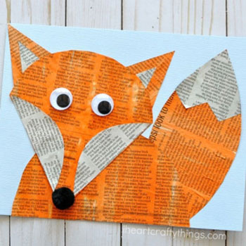 DIY Newspaper fox - woodland craft for kids
