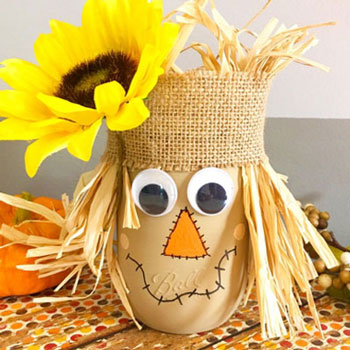 DIY Scarecrow mason jar craft - fall craft for kids