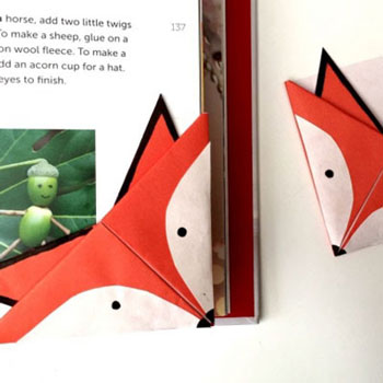 Easy DIY fox corner bookmark - all craft for kids