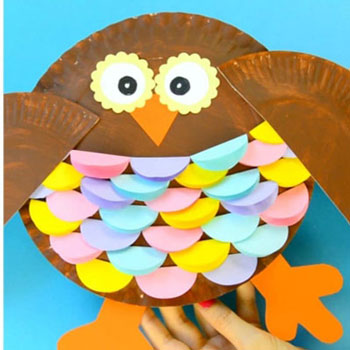 Easy colorful paper plate owl - fall craft for kids