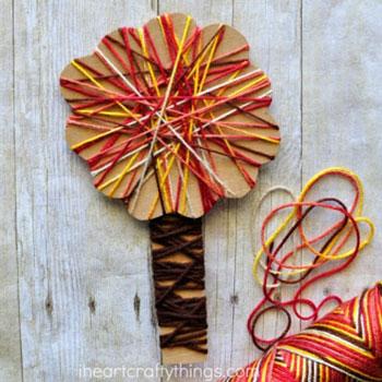 Fonallal körbetekert fa - egyszerű őszi ötlet gyerekeknek fonalból
