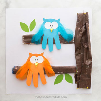 Aranyos kézkörvonal bagoly - egyszerű kreatív ötlet gyerekeknek