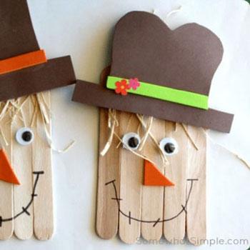 Jégkrém pálcika madárijesztő - egyszerű kreatív ötlet gyerekeknek őszre
