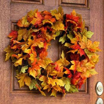 Csodás őszi falevél koszorú egyszerűen - mű falevelekkel
