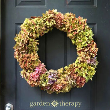 Egyszerű száraz hortenzia virág koszorú - őszi koszorú