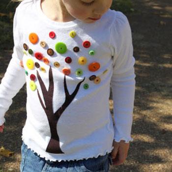 Őszi gomb fa pólódekoráció egyszerűen