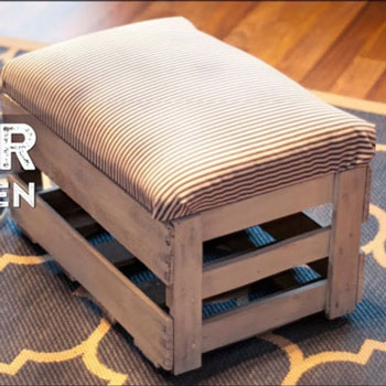 DIY Upholstered storage crate bench