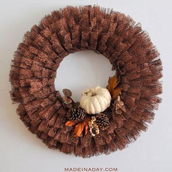 Őszi szalag koszorú egyszerűen - őszi dekoráció szalagokból