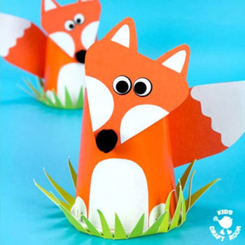 DIY Paper cup fox - fun fall craft for kids
