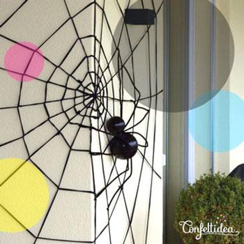 Óriás pókháló fonalból egyszerűen - kreatív Halloween dekoráció