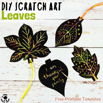 DIY Fall leaf scratch art - fun fall craft for kids