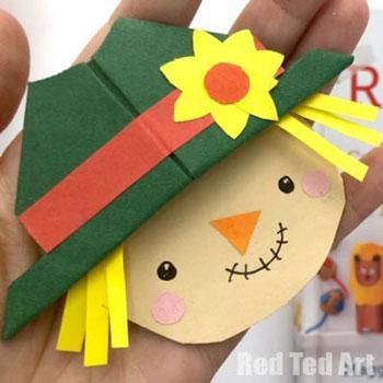 Madárijesztő könyvjelző (sarok könyvjelző) - origami gyerekeknek