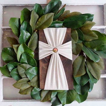 DIY Drop cloth cross wood sign (no-sew)