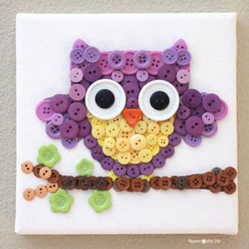 Gomb bagoly kép (gombkép) - kreatív gyerekszoba dekoráció