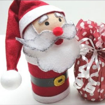 DIY Plastic bottle Santa gift box with craft foam - Christmas gift
