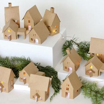 Karácsonyi falu - papír házikó adventi kalendárium (vágósablon)