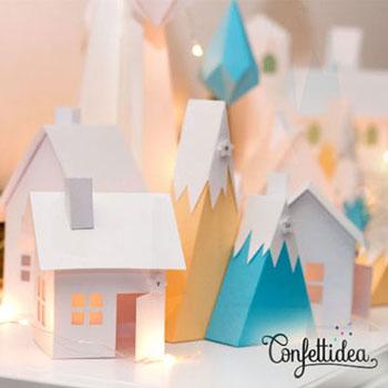 Papír házikók hegyekkel és jégcsapokkal - adventi kalendárium