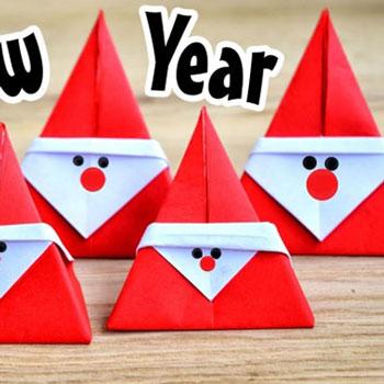 Egyszerű origami Mikulás - papírhajtogatás gyerekeknek